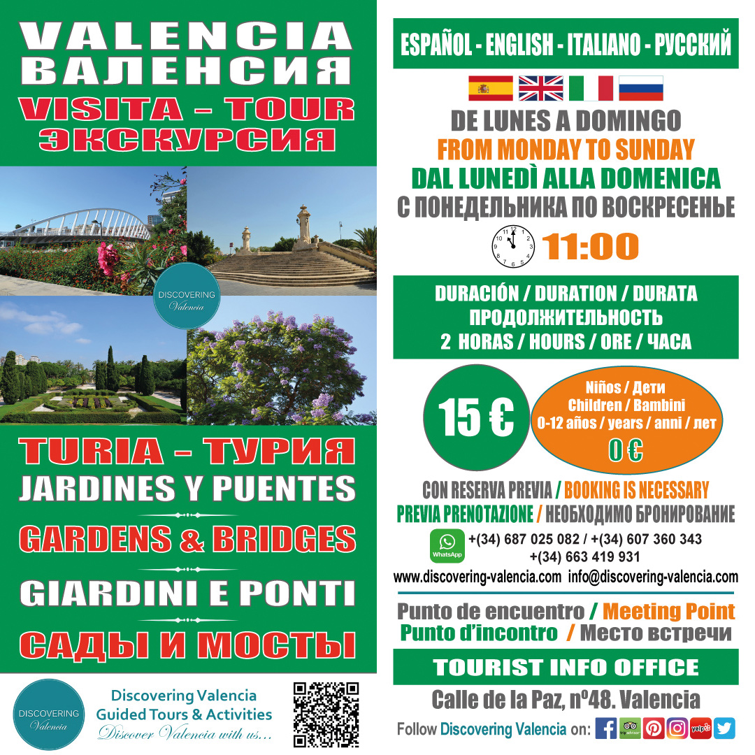 Flyer Guided Tour Valencia Gardens and Bridges of the River Turia